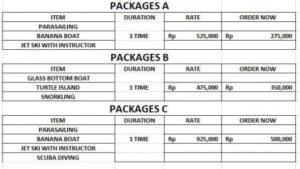 Harga Paket A - B - C Watersport murah di Bali