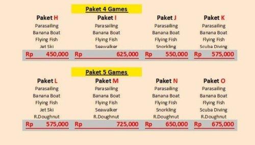 Harga Paket 4 dan 5 permainan Promo Watersport Bulan Ini Tanjung Benoa Bali