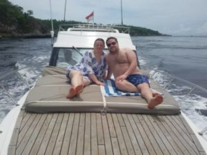 Relax on front deck bali yacht boat