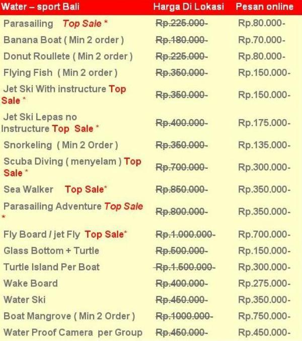 Water sport Bali Tanjung Benoa Harga Murah Terbaru 2019