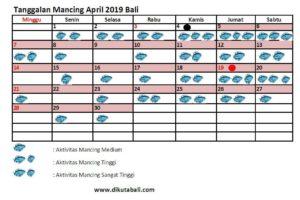 Tanggalan Mancing April 2019 Laut Bali