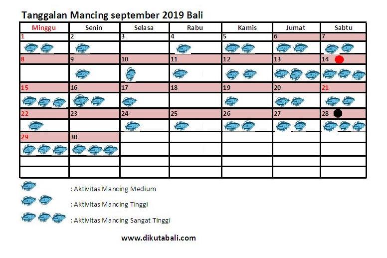 Tanggalan Mancing Bulan September 2019