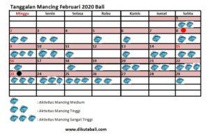 Tanggalan mancing Februari 2020 Bali