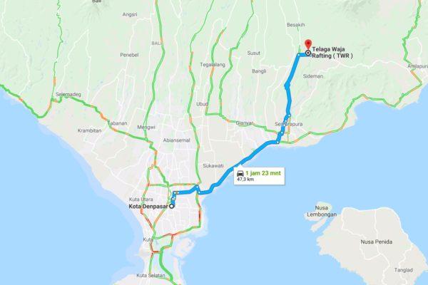 Google Map Telaga waja Rafting Bali